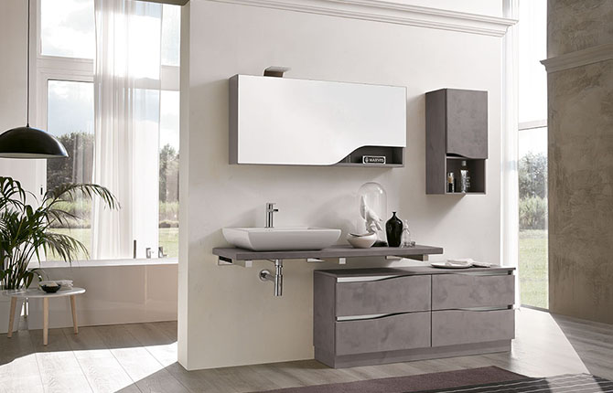 Meuble qualitatif haut de gamme design contemporain bmt collection swing vente de carrelage - Mercatone arredo bagno ...